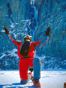 Andrew McLean celebrates after skiing the Polar Star Couloir with assistance from a Polartec Challenge Grant